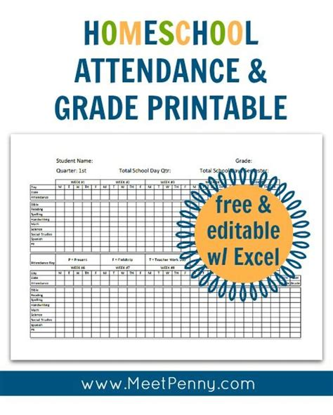 free printable worksheets homeschool homeschool attendance and grades printable printable