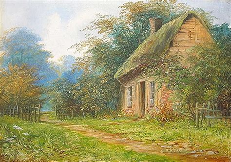Rural Cottages Uk by Antique Painting 1896 Rural Cottage