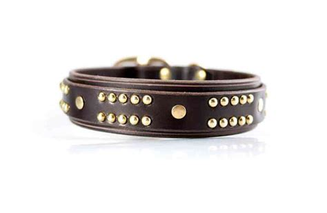 Handmade Leather Collars And Leashes - handmade leather and brass collar thick collars gift