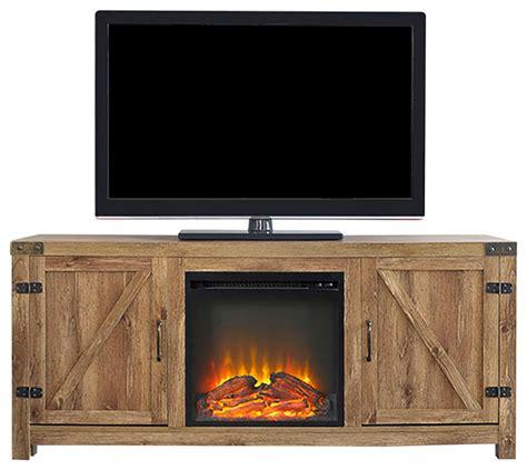 58 quot barn door fireplace tv stand barnwood rustic
