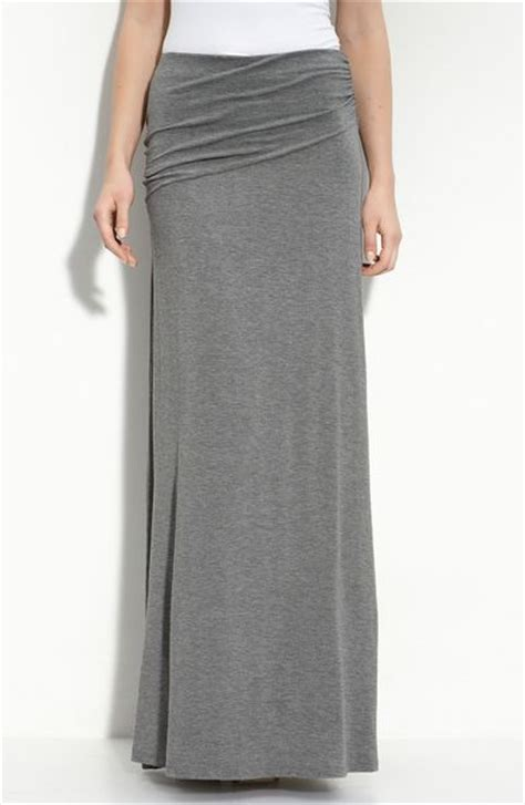 bobeau asymmetric knit maxi skirt in gray charcoal lyst