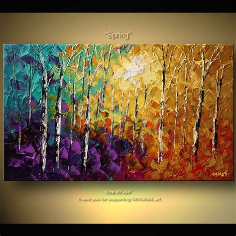 acrylic painting with knife original abstract tree painting thick texture of birch