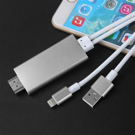 Adapter 8 Pin Lightning To Hdmi Hdtv Av Cable Adapter For Iphone7 Plu 2m 8 pin apple lightning to hdmi av cable adapter hdtv for