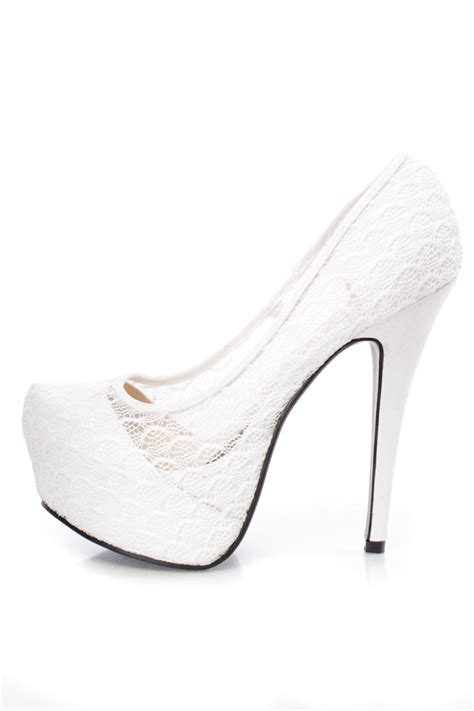 white lace high heels white platform high heels lace