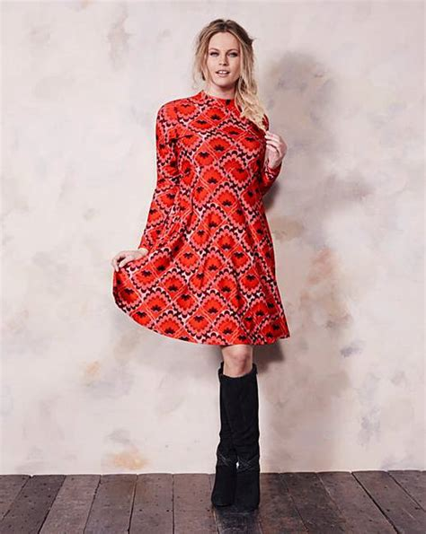 Dress Of The Day Jersey Babydoll by High Neck Jersey Print Babydoll Dress Simply Be
