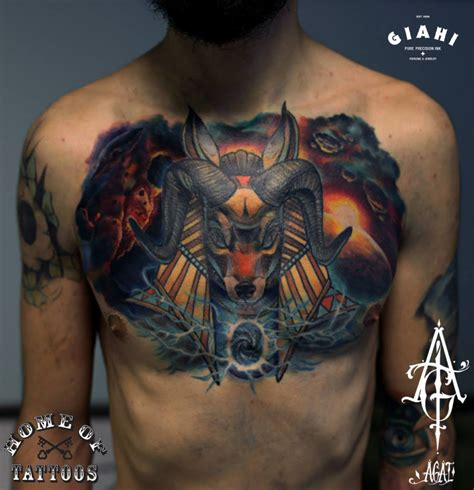 ram horns anubis tattoo by agat artemji best tattoo