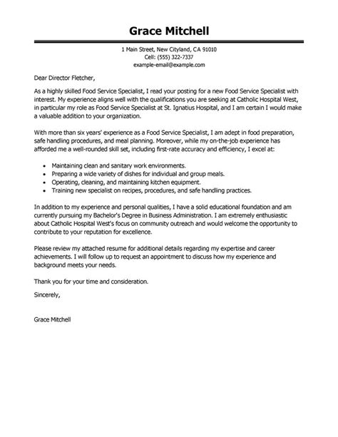 cover letter for food service best food service specialist cover letter exles