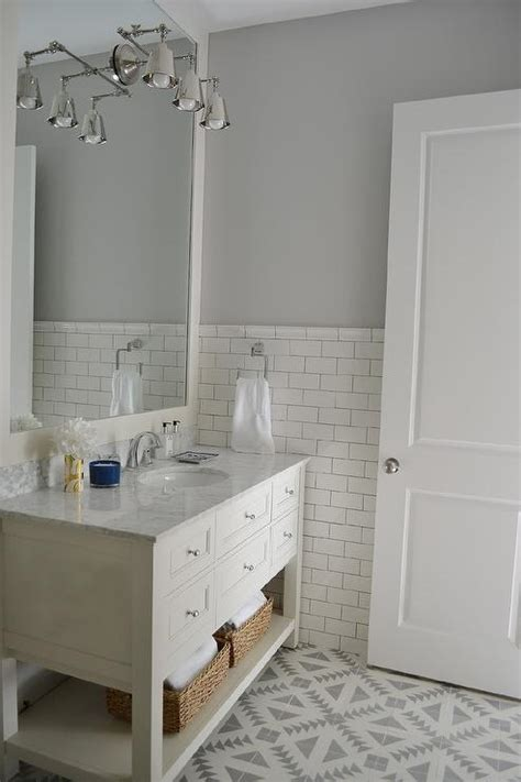 bathroom tile height white and gray bathroom features top half of walls painted