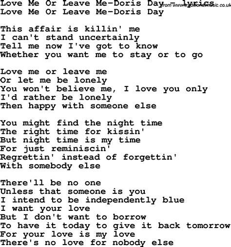 Or Lyrics Song Lyrics For Me Or Leave Me Doris Day