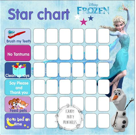 printable frozen sticker chart 9 best images of frozen printable responsibility charts