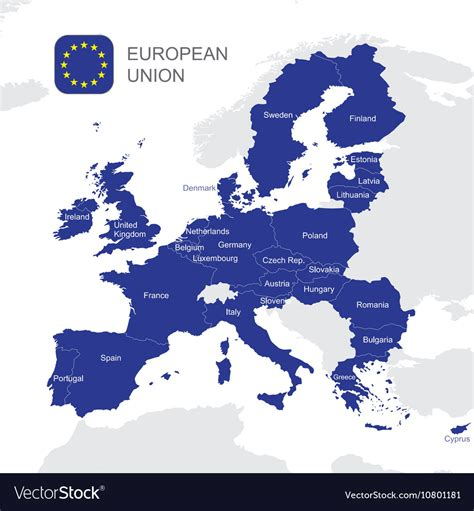 european union map the european union map royalty free vector image