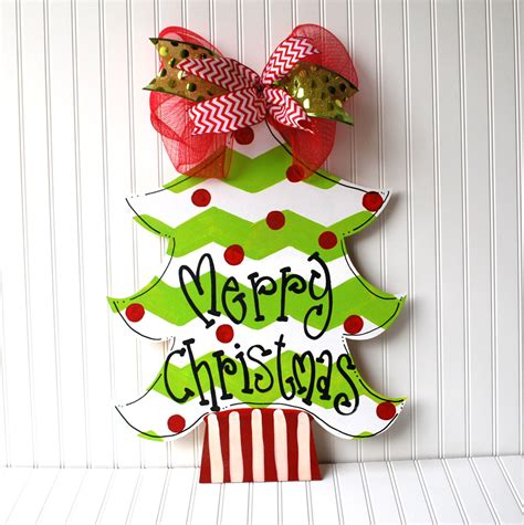 christmas tree door hanger chevron christmas by looleighscharm