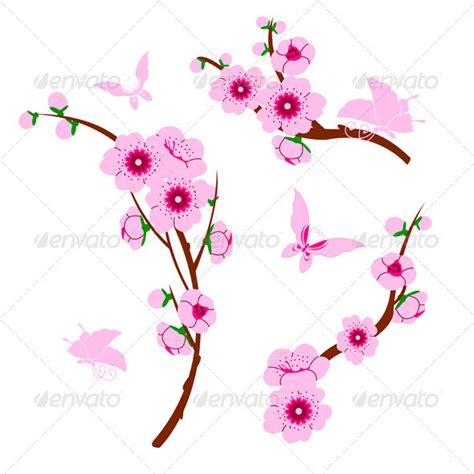 wallpaper daun sakura gambar bunga vektor gambar v