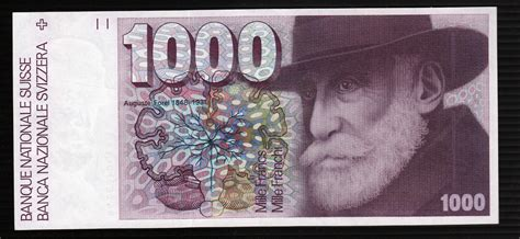 currency chf currency of switzerland 1000 swiss francs banknote 1978