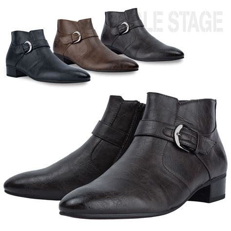 7 Ankle Boots by Eaglestage Richel Buckle Side Zip Mens Dress Ankle