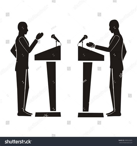 the debate on black computer drawing vector silhouette figure profile stock vector 280922825 shutterstock