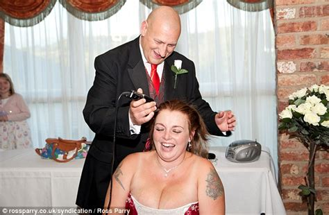 wife shaving husband bride lets husband shave off her hair for cancer research