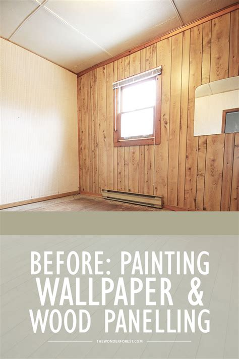 refinish wood paneling bedroom makeover before painting wallpaper and panelling forest