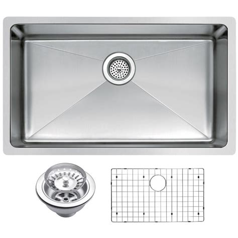 Kitchen Sink Grid Stainless Steel Water Creation Undermount Stainless Steel 30 In Single Basin Kitchen Sink With Strainer And