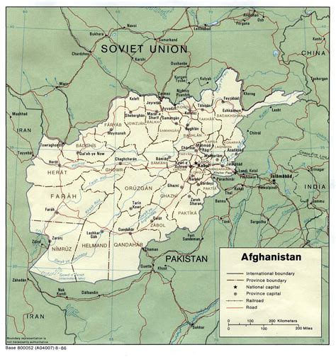 political map of afghanistan afghanistan political map 1986 size