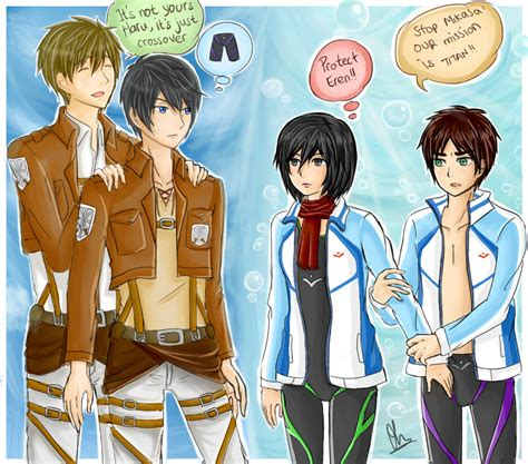 attack on titan free crossover attack on titan and free by frenzy