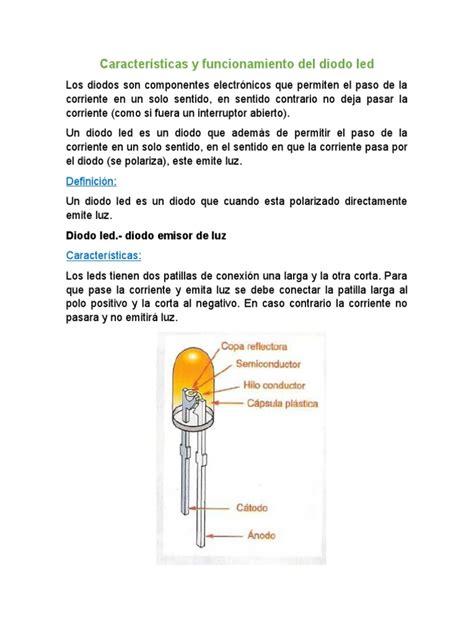 caracteristicas  funcionamiento del diodo led diodo