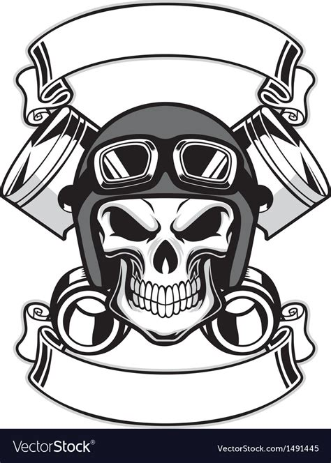 skull wearing retro motorbike helmet royalty free vector