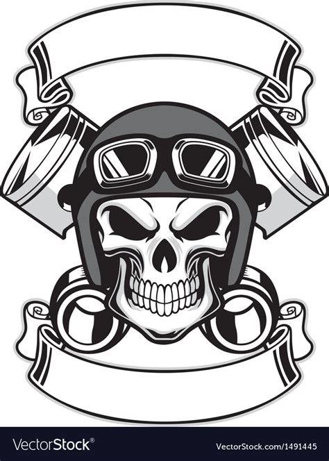 skull wearing retro motorbike helmet royalty free vector