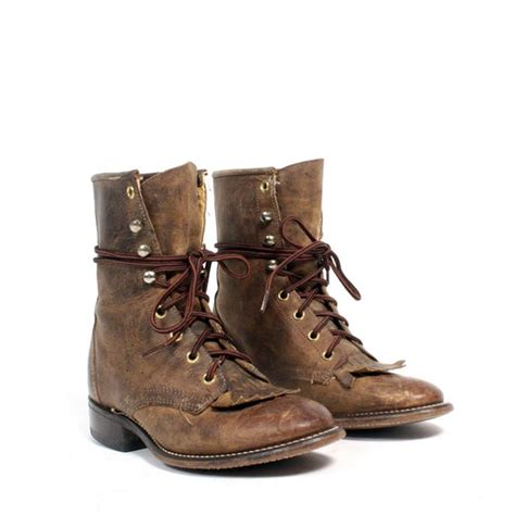 size 6 brown leather lace up boots 36