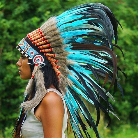 turquoise native american headdress 75cm indian