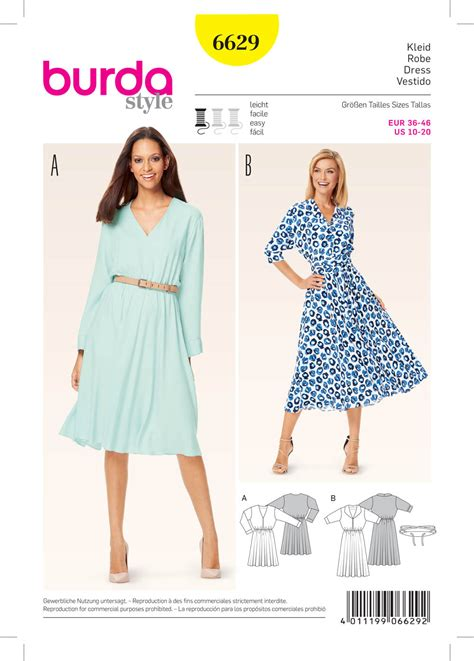 pattern sewing burda burda 6629 misses dress