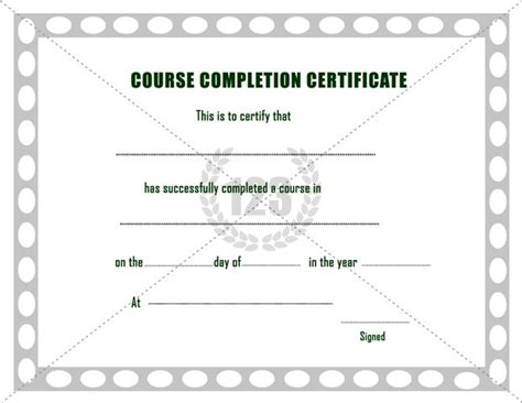 course completion certificate template free course completion certificate template