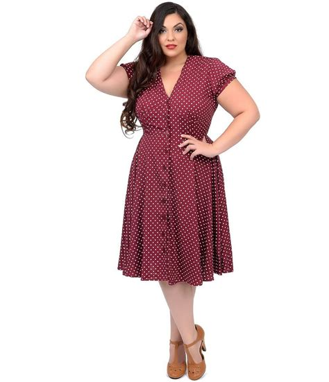 1940s swing dress plus size 1940s style raspberry cream polka dot harriet