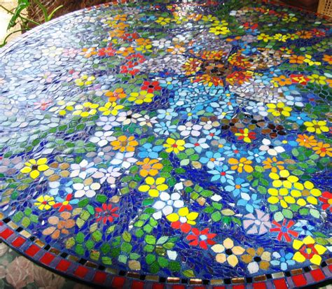 blue stained glass table ls glass mosaic table