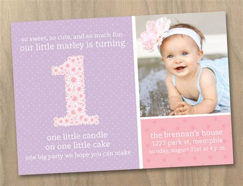 1st birthday invitations girl free template personalised baby girl first 1st birthday photo invitation pink and