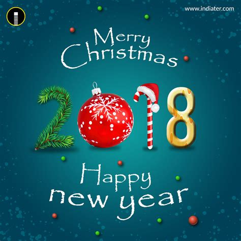 merry christmas  happy  year  greeting psd template indiater