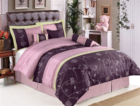 7pcs queen purple floral embroidered comforter set ebay