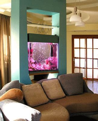 elegant chinese modern living room with aquarium and aquariums as stylish room dividers