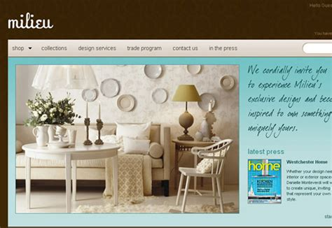 milieu home goods  furniture ecommerce store