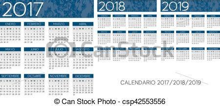 Calendario 2018 En Español Clipart Vectorial De Azul Textured A 241 O Vector Espa 241 Ol
