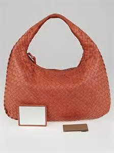 Bottega Veneta Royal Veneta Handbag by Bottega Veneta Corallo Intrecciato Woven Nappa Leather