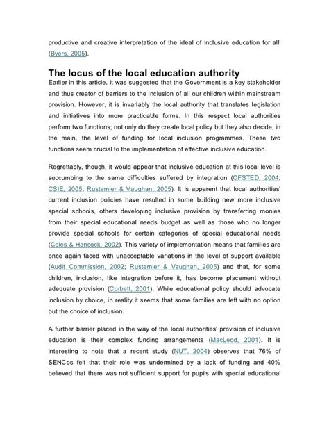 thesis about inclusive education short essay on inclusive education