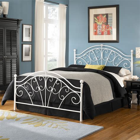 White Wrought Iron Headboards by Wingate Iron Headboard Glossy White Classic Scroll Work Style