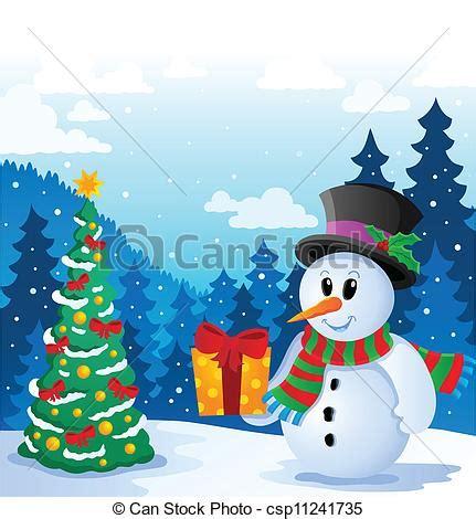 theme line winter vectors of winter snowman theme image 5 vector