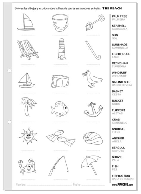 imagenes vacaciones en ingles vocabulario de la playa en ingl 233 s the beach english