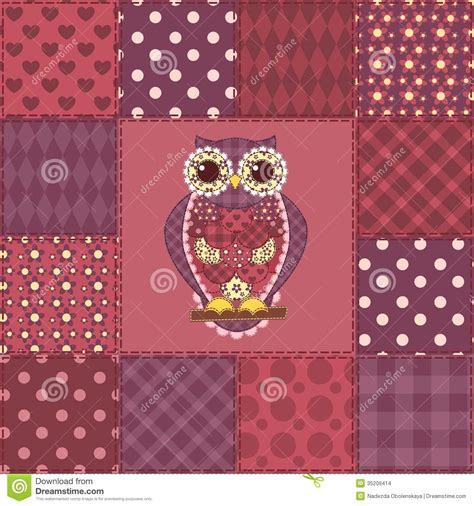 Patchwork Owl Pattern - seamless patchwork owl pattern 3 stock photo image 35209414