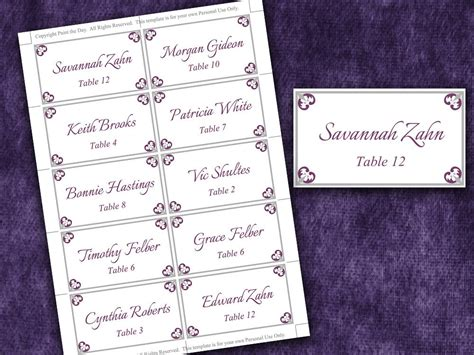 89 diy wedding place card templates free averyr