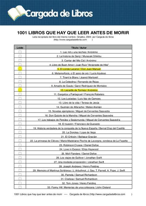 lista 1001 libros que hay que leer antes de morir 1001 libros que hay que leer antes de morir en pdf