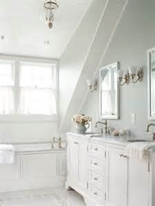 white bathroom design ideas slanted ceiling stone tile