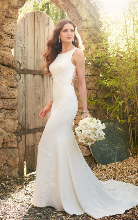 simple classic lace wedding dress essense  australia